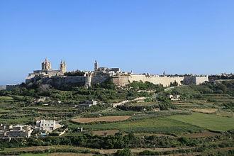 Fortifications of Mdina - Mdina as seen from Mtarfa