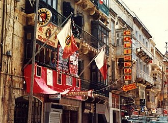 Labour Party (Malta) - The club of the Malta Labour Party in Republic Street, Valletta in 1985.