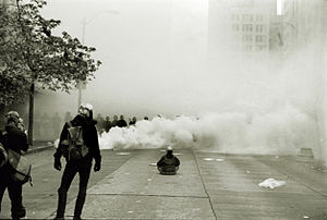 "Insurrectionary anarchism - Protester facing riot police in the ""Battle of Seattle"""