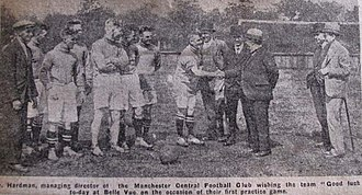 Manchester Central F.C. - Players meeting Chairman before 1st practice match at Belle Vue in 1928