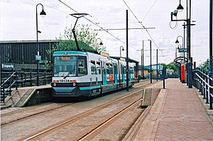 Langworthy tram stop - Tram at Langworthy tram stop in 2010