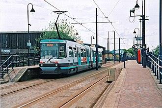 Langworthy tram stop - Tram at Langworthy tram stop in 2010