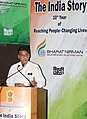 """Manish Tewari addressing at the release of an audio visual glimpse of """"The India Story"""" 10th year of Reaching People-Changing Lives, in New Delhi on August 14, 2013.jpg"""