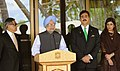 Manmohan Singh and the Prime Minister of Pakistan, Mr. Yousuf Raza Gilani, at the joint press interaction, after the bilateral meeting, on the sidelines of the 17th SAARC Summit.jpg