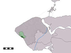 The village centre (dark green) and the statistical district (light green) of Zoutelande in the municipality of Veere.