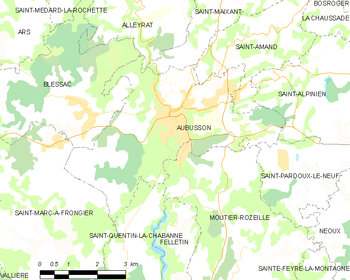 Map of the commune of Aubusson