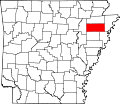 Map of Arkansas highlighting Poinsett County.svg