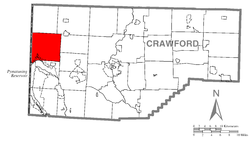 Location of Conneaut Township in Crawford County