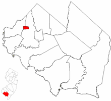 Shiloh highlighted in Cumberland County. Inset map: Cumberland County highlighted in the State of New Jersey.