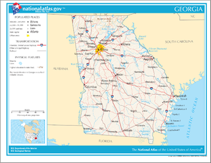 Outline of Georgia (U.S. state) - An enlargeable map of the state of Georgia