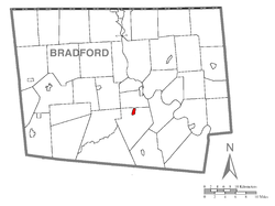 Map of Bradford County with Monroe highlighted
