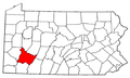 Map of Pennsylvania highlighting Westmoreland County.png