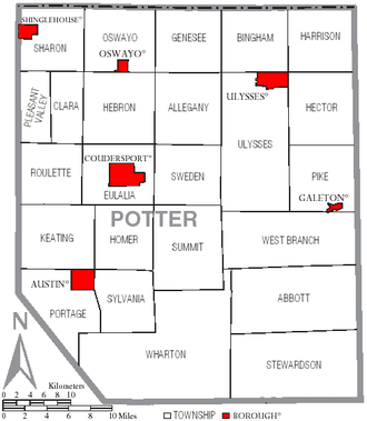 Potter County, Pennsylvania - Map of Potter County, Pennsylvania with Municipal Labels showing Boroughs (red) and Townships (white).