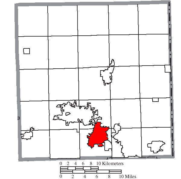 Location of Niles in Trumbull County