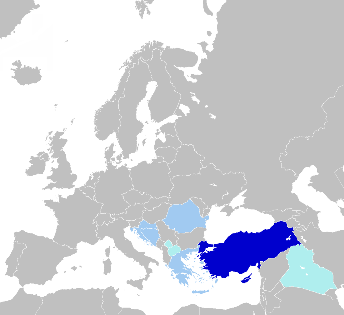 Turkish language - Wikipedia on world map of greece, world map of egypt, world map of diego garcia, world map of romania, world map of iran, world map of syria, world map of albania, world map of russia, world map of british territory, world map of iraq, world map of aleutian islands, world map of gaza, world map of morocco, world map of us virgin islands, world map of china, world map of jordan, world map of maldives, world map of peru, world map of the himalayas, world map of singapore,