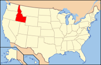 Map of the USA highlighting Idaho
