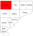 Map of Warren County Indiana highlighting Prairie Township.png