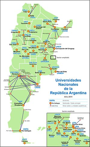 Taquini Plan - Map of the Argentine national university system. Main campuses are displayed in buttons and bold face, and satellite campuses in dots.