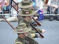 Marchers in WWII Australian uniforms, wearing the colour patch of the 2-8th Battalion - 070425 Anzac Day March, Adelaide St, Brisbane, Queensland, Australia.jpg