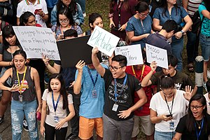 Burial of Ferdinand Marcos - Students of the Ateneo de Manila University along Katipunan Avenue protesting against the burial of former President Marcos insisting that Marcos was not a hero but a dictator.