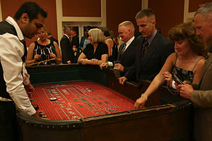 Craps - A craps table with a game in progress.