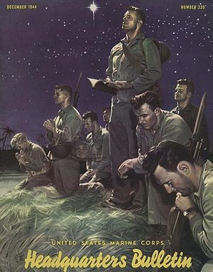 "Alex Raymond - While he was in the Marines, Raymond painted ""Marines at Prayer"" for the Marine Corps' Headquarters Bulletin (December 1944)."