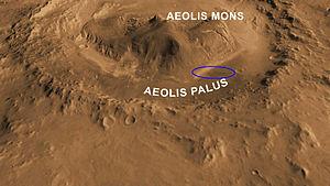Aeolis Palus - Image: Mars Science Laboratory landing ellipse reduced