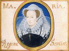 Maria Stuarda durante la prigionia. Miniatura di Nicholas Hilliard, 1578.