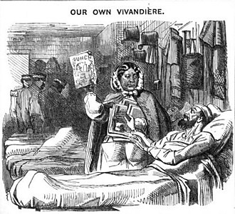 """Mary Seacole - Mary Seacole, depicted as an admirer of Punch along with her British Crimean War patients in """"Our Own Vivandière"""" (Punch, 30 May 1857)."""