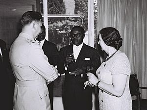 Burkina Faso - Maurice Yaméogo (center) was the first President of Upper Volta.