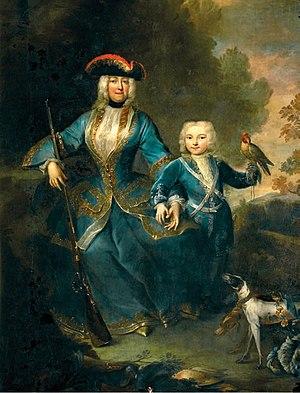 Eleonore von Schwarzenberg - Princess Eleonore in hunting dress with her son, Joseph