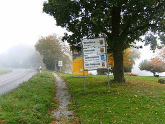 Meersburg - Meersburg, Germany, Bundesstraße 33, Dr.-Moll-Platz: Sign with the twin-towns of Meersburg