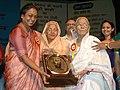 Meira Kumar presenting Vayoshrestha Samman-2006 to centenarian, Smt. Laxmi Devi Barupal (100 Yrs) of Rajasthan, as a part of International Day of Older persons, in New Delhi on October 17, 2006.jpg