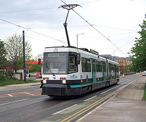 Manchester Metrolink - A T-68 tram on the Eccles line, opened in 1999–2000 during Phase 2