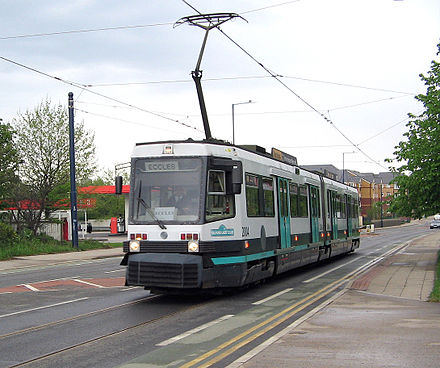 A (now retired) T-68A tram on the Eccles line, opened in 1999-2000 during Phase 2 Metrolink tram in Eccles.jpg