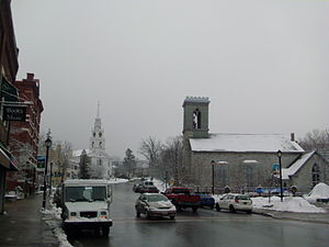 Middlebury, Vermont - Congregational Church (left) and St Stephen's Episcopal Church (right) on Main Street