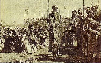 Visconti of Milan - March 1st 1162, Ottone Visconti is the first Milanese appearing in the list of authorities surrendering to the Barbarossa after the capitulation of the city (19th century engraving)