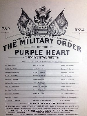 Harvey Locke Carey - Carey is listed as a department commander in this undated certificate from the Military Order of the Purple Heart, of which he was three times a state commander and once a national vice-commander.