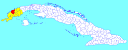 Minas de Matahambre municipality (red) within Pinar del Río Province (yellow) and Cuba