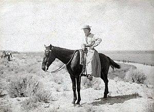 Minerva Teichert - Portrait of Teichert on horseback