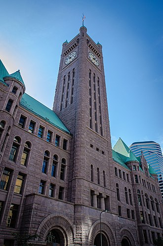 Richardsonian Romanesque - Image: Minneapolis City Hall Hennepin County Courthouse