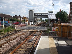 Mitcham Eastfields railway station - Image: Mitcham Eastfields stn northbound look south gates closed
