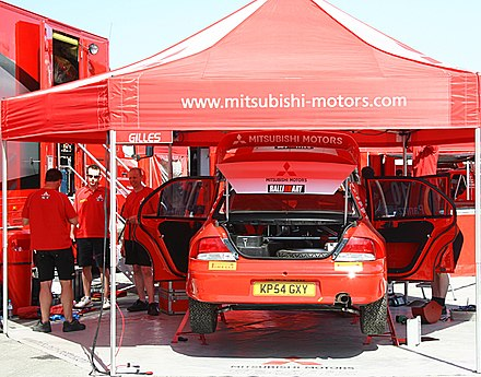 Mitsubishi service park at the 2005 Cyprus Rally. Mitsubishi WRT - 2005 Cyprus Rally.jpg
