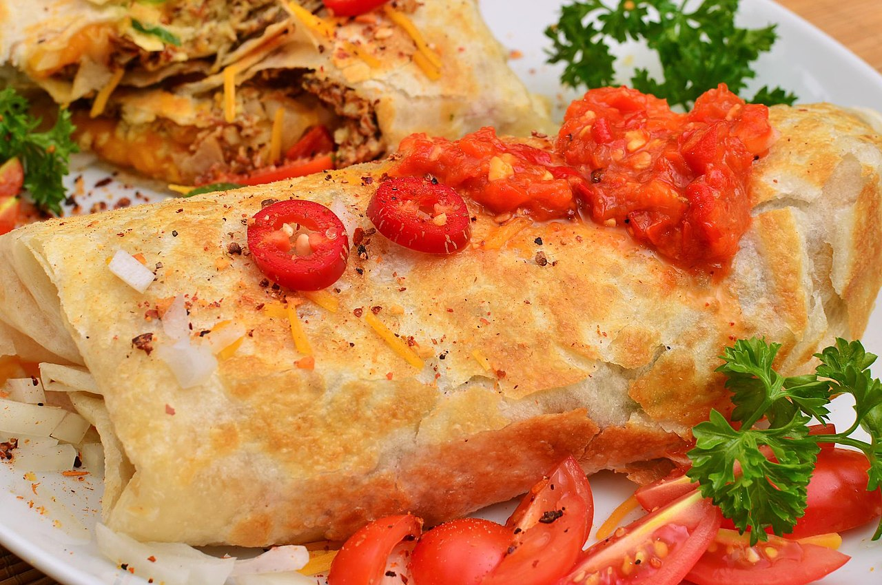 File:Mmm... Roasted pork and scrambled egg burrito with some red ...