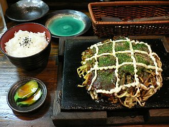 Okonomiyaki - Osaka style Modan-yaki and lunch set