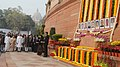 Mohammad Hamid Ansari, the Prime Minister, Shri Narendra Modi, the Speaker, Lok Sabha, Smt. Sumitra Mahajan and other dignitaries paid tributes to the martyrs of the Parliament attack, at Parliament building, in New Delhi.jpg