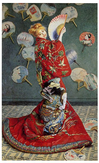 Cultural appropriation - Claude Monet's wife, Camille Doncieux wearing a kimono, 1875.
