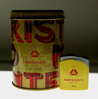 Montecristo (cigar) - A can of Montecristo Club cigars and branded lighter