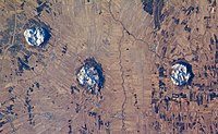 Satellite view of three Monteregian Hills (Saint Bruno, Saint Hilaire, and Rougemont) in Saint Lawrence Valley.