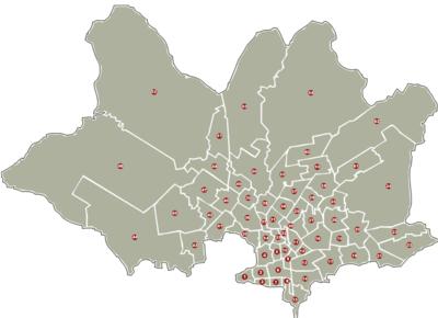 Mapa mostrando los barrios de Montevideo.